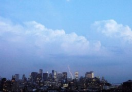 Lightning over downtown new york as seen from jessica craig-martin's apartment, New…