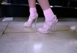 The Italian actress Valeria Bilello's Miu Miu patent sandals at the Miu…