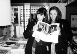 Actress Nana Komatsu, holding a copy of the new issue of Purple...