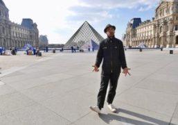 """""""JR au Louvre"""" work in progress installation for La Pyramide du Louvre's..."""