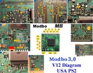 SCPH70012 PS2 Modbo 40 modchip installation (V12 NTSC