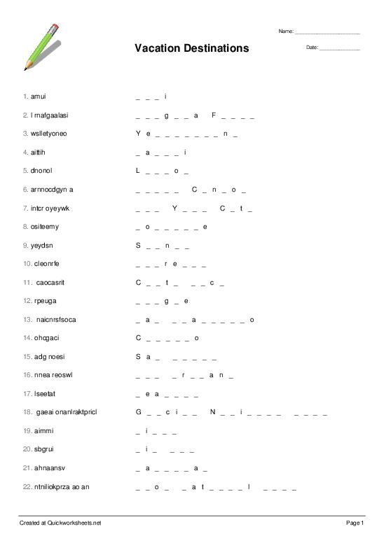 Shared Word Scramble Worksheets