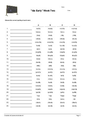 Shared Spelling Test Worksheets