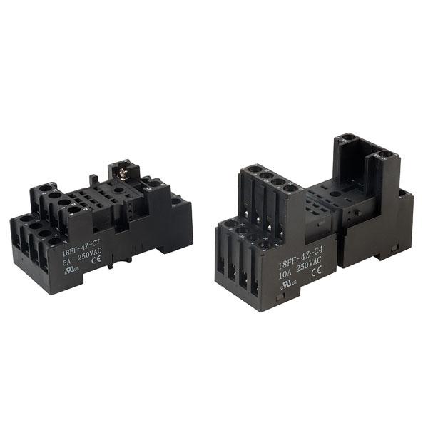 Hongfa 18FF Compact Relay Sockets 7A DIN Rail Mount 4-Pole 14-Pin | Rapid Online