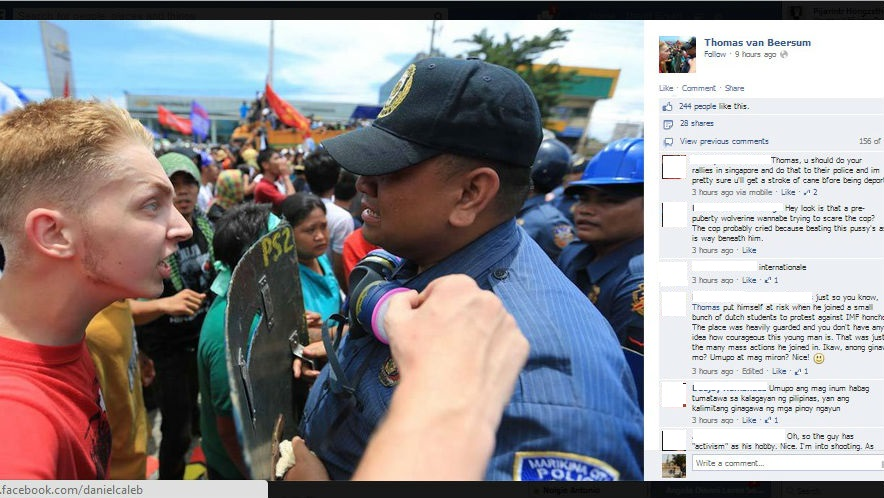 Screengrab of Thomas van Beersum's Facebook profile picture showing mixed comments from his network. The photo was originally taken by Rem Zamora of ABS-CBN