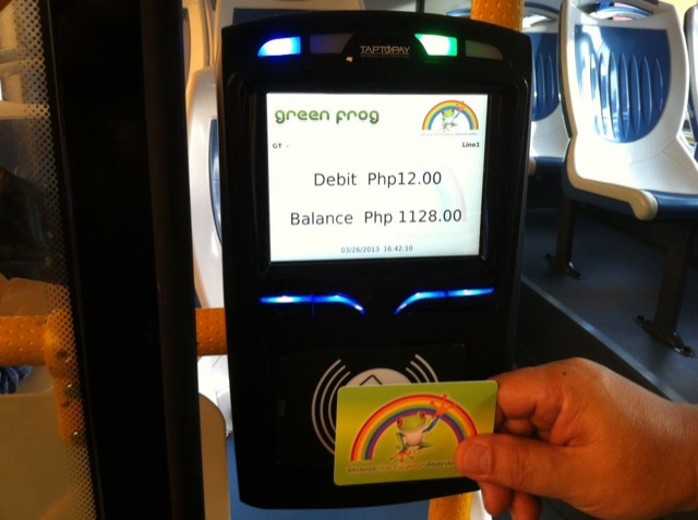 CASHLESS PAYMENT. Green Frog buses will utilize a tap card cashless payment system. A one way fare costs P12 and stored cards will be sold for P120. Photo courtesy of Green Frog's Facebook page