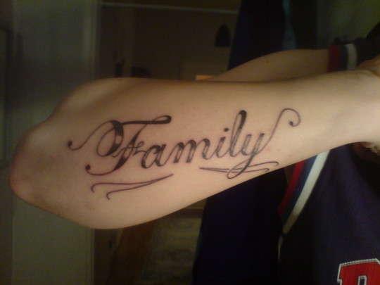 family-script tattoo
