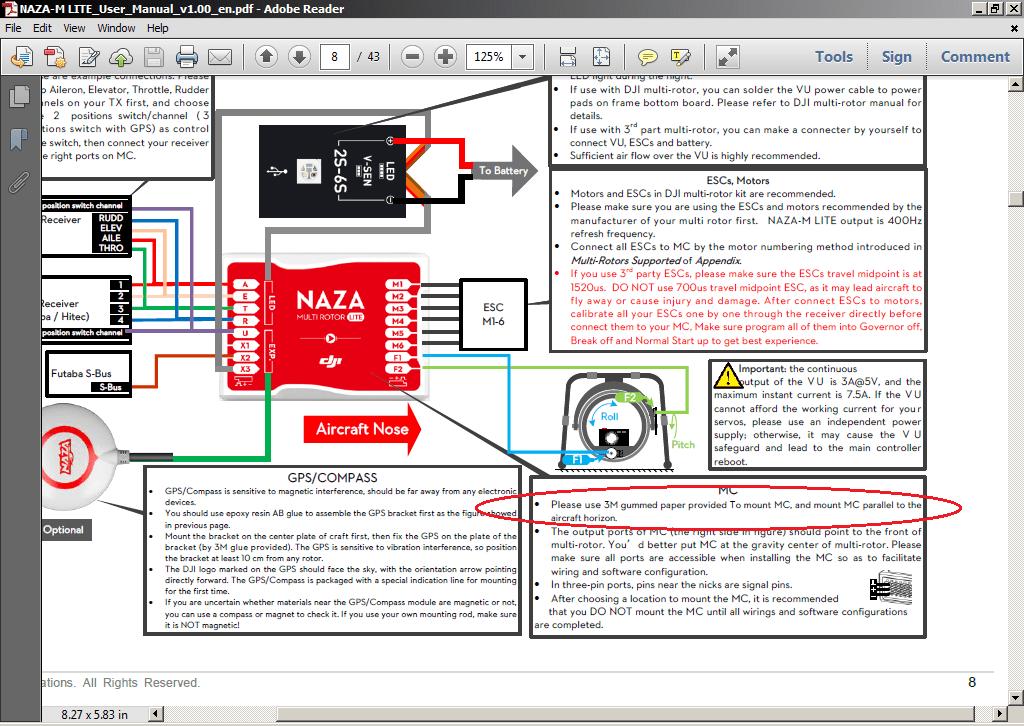 naza m wiring diagram light