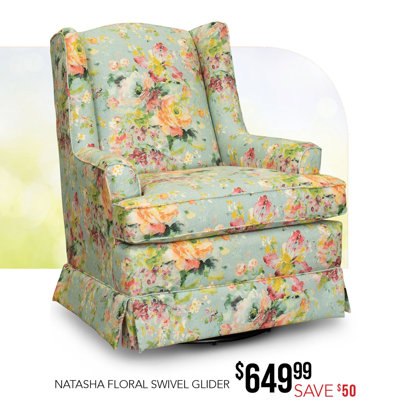 Eggshell Chair Aqua And Multi Color Floral Eggshell Swivel Glider Natasha Rc