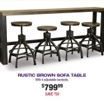 Rustic Brown Sofa Bar Table And 4 Bar Stools Chandler Rc Willey Furniture Store