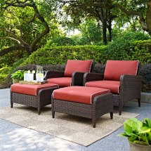Kiawah Sangria 4-piece Outdoor Wicker Chair And Ottoman