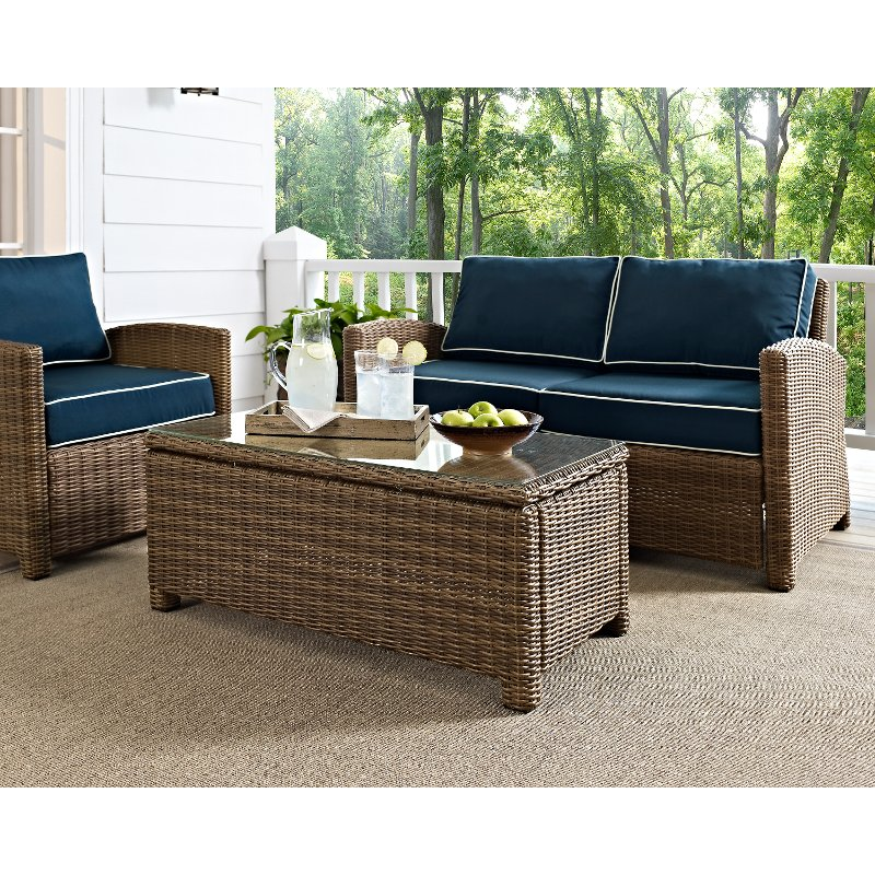 light brown outdoor wicker glass top table bradenton rc willey furniture store