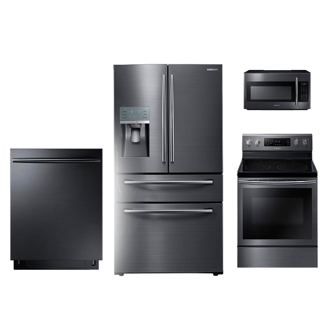 Samsung 4 Piece Kitchen Appliance Package with 59 cu ft Electric Range  Black Stainless