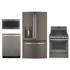 Slate Kitchen Appliance Package Low Cost Modular Ge Chef Connect Gas 4-piece ...