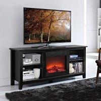 Essentials Black Fireplace TV Stand