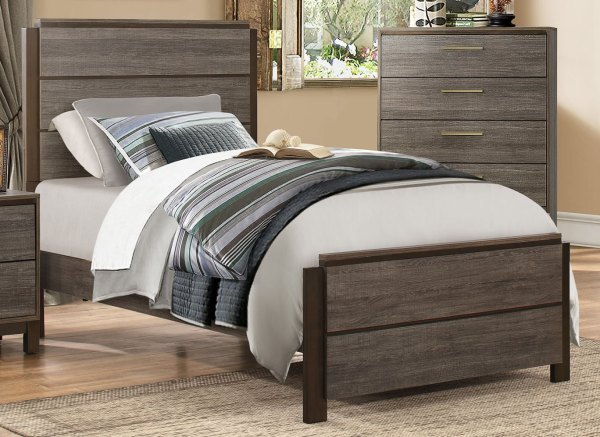 Contemporary Gray-black 6 Piece Twin Bedroom Set - Oxon Rc Willey Furniture Store