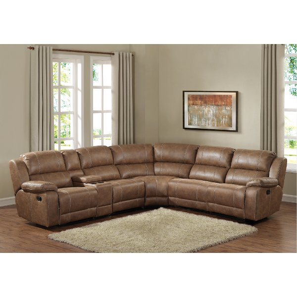 e saving sectional sofas leather buffalo ny shop and sectionals rc willey furniture store badlands saddle brown 6 piece reclining sofa charlotte