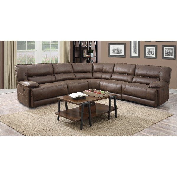 leather sectional sofas kiln dried hardwood frame sofa shop and sectionals rc willey furniture store cognac brown 5 piece 2x power reclining karma