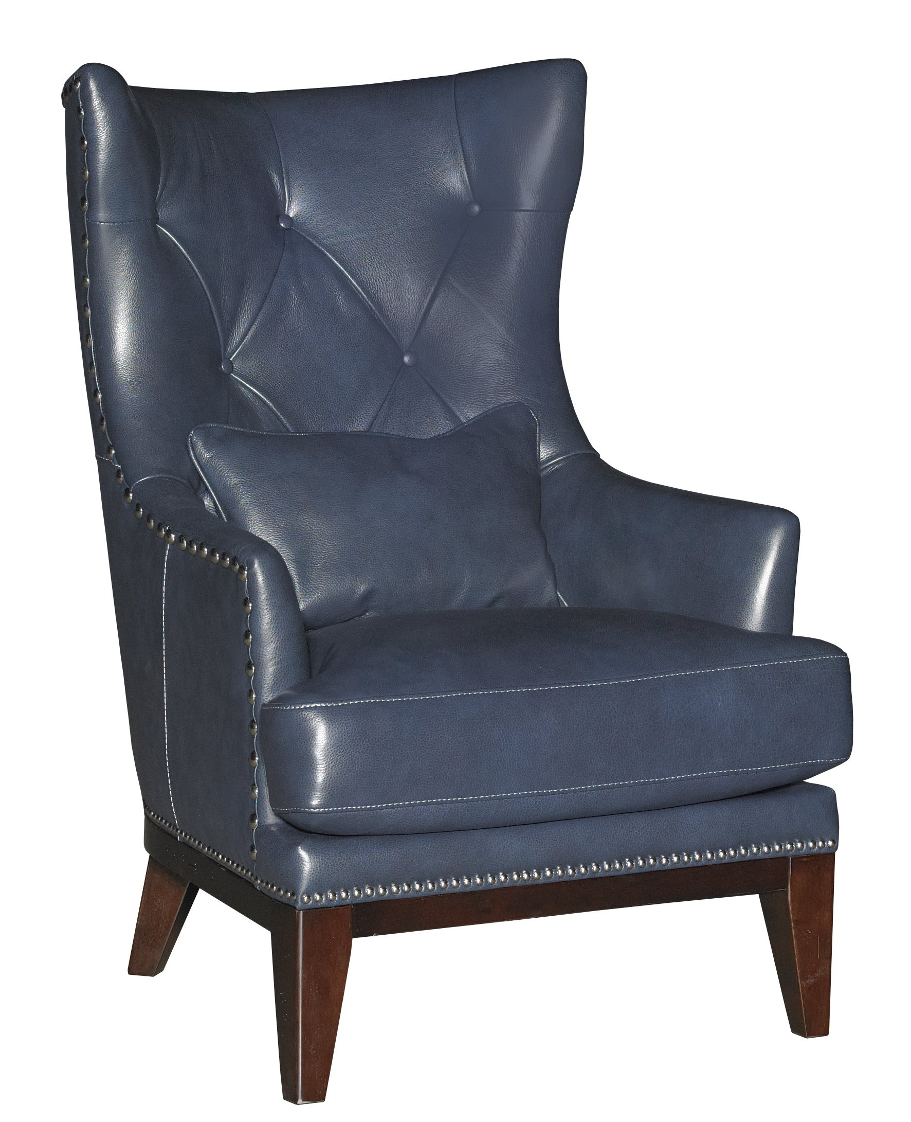Blue Leather Club Chair Cobalt Blue Leather Match Accent Chair And Ottoman