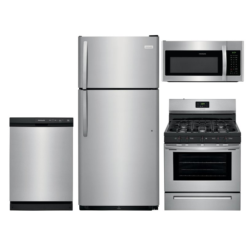 frigidaire kitchen package display system stainless steel 4 piece gas appliance