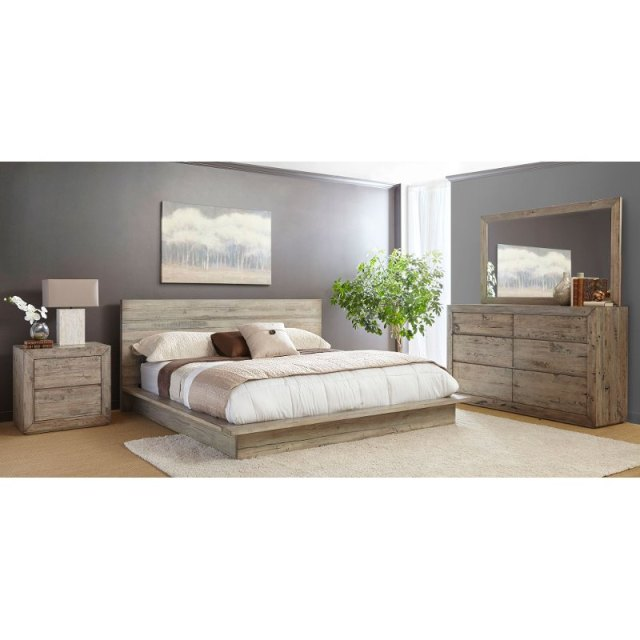 White-Washed Modern Rustic 6 Piece California King Bed ...