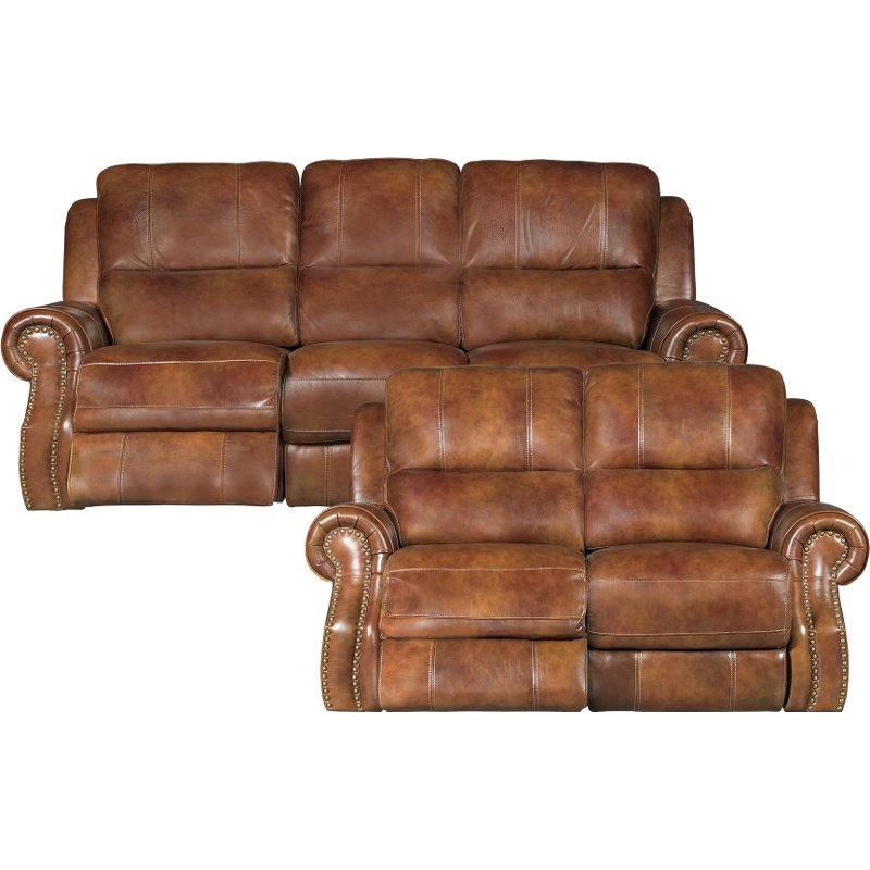 living room set leather ideas for brown match power reclining nailhead rc willey furniture store