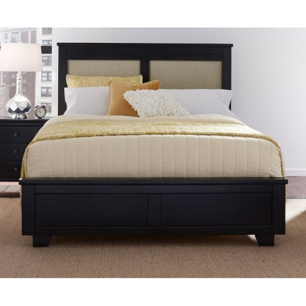 Black Classic Contemporary Upholstered Full Size Bed - Diego Rc Willey Furniture Store