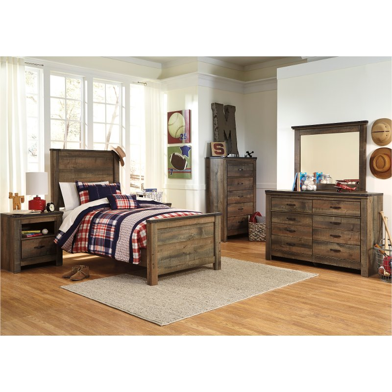 Rustic Casual Contemporary 6 Piece Twin Bedroom Set