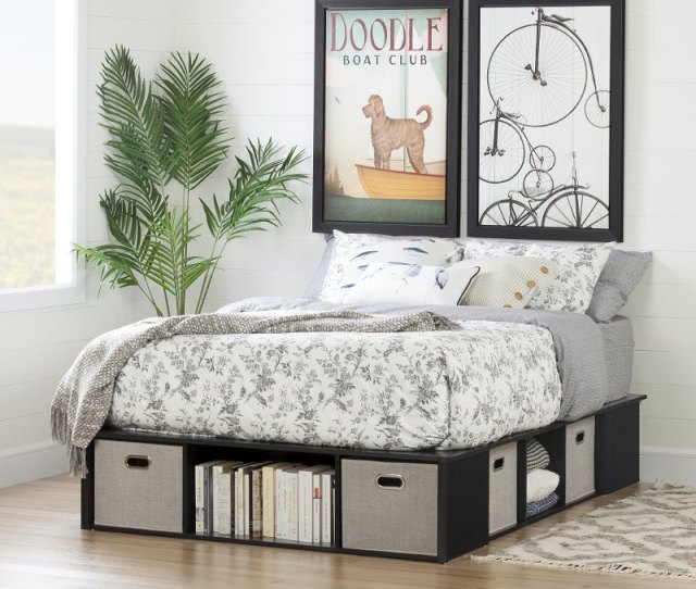 Black Oak Full Size Platform Bed With Storage And Baskets Flexible Rc Willey Furniture Store