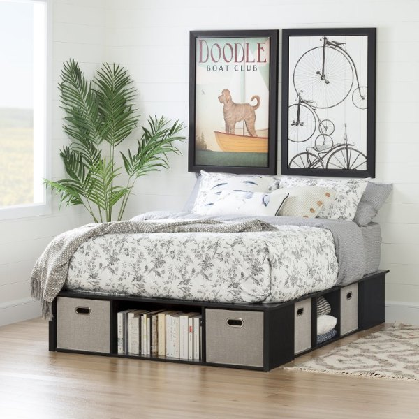 Black Oak Full Size Platform Bed With Storage And Baskets - Flexible Rc Willey Furniture Store