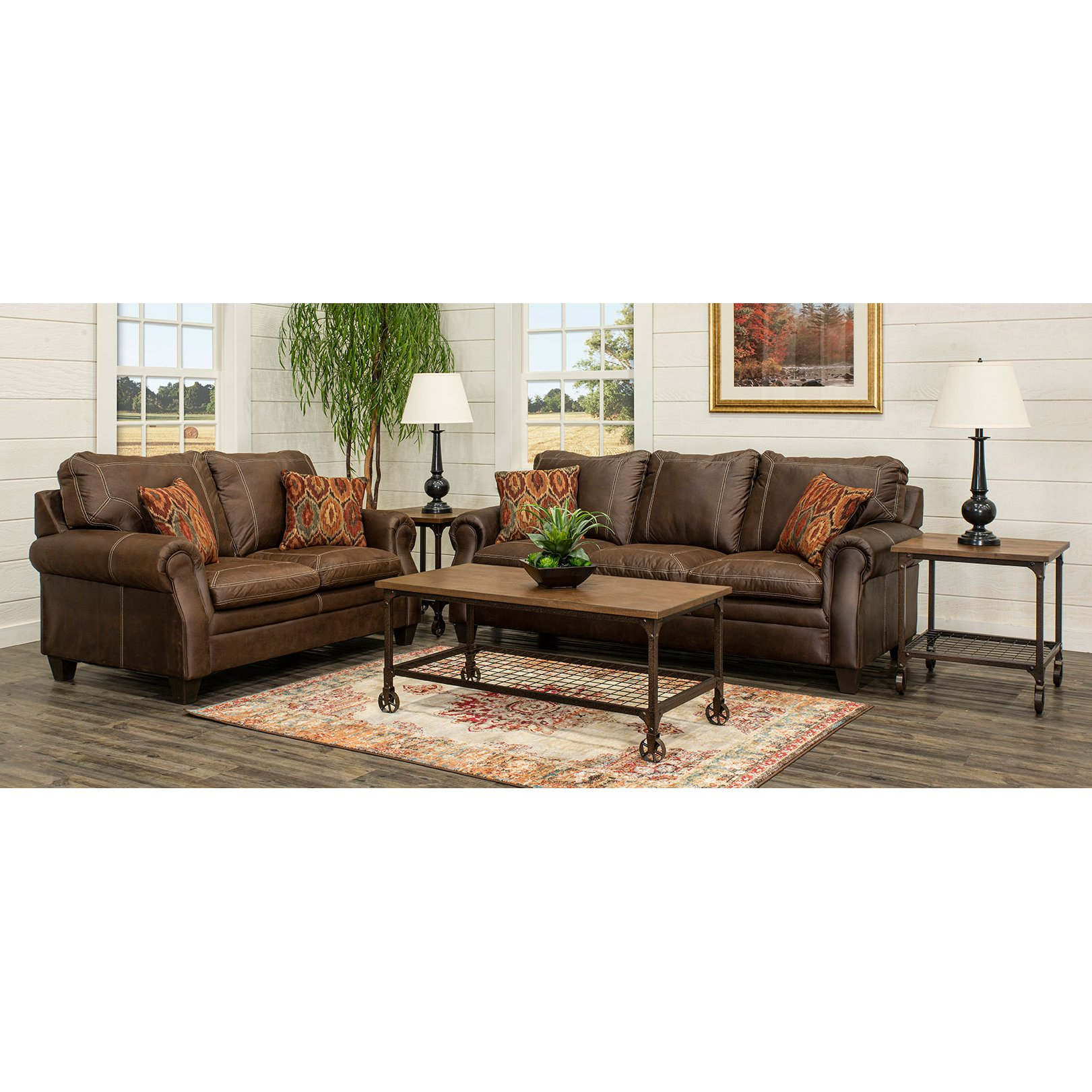 7 piece living room package fixtures classic traditional brown set shiloh rc willey furniture store
