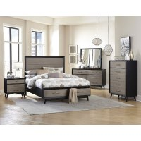 Contemporary Gray and Black 6 Piece Queen Bedroom Set