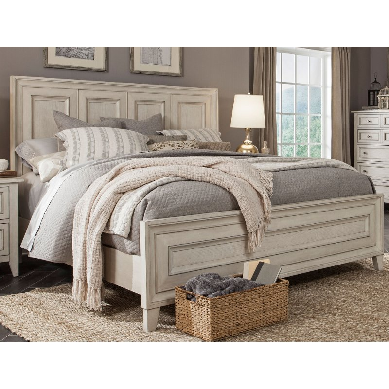Weathered White King Size Bed  Raelynn  RC Willey Furniture Store
