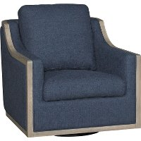 Midnight Navy Blue Swivel Barrel Chair - Bayly   RC Willey ...