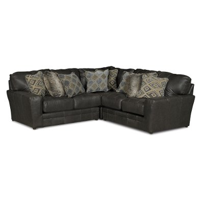 leather living room furniture sectionals how to choose carpet size for brown rc willey casual classic steel gray 3 piece sectional sofa denali