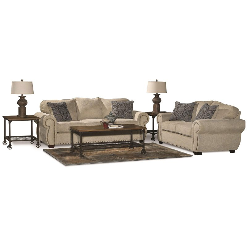 Casual Traditional Canvas Tan 7 Piece Living Room Set