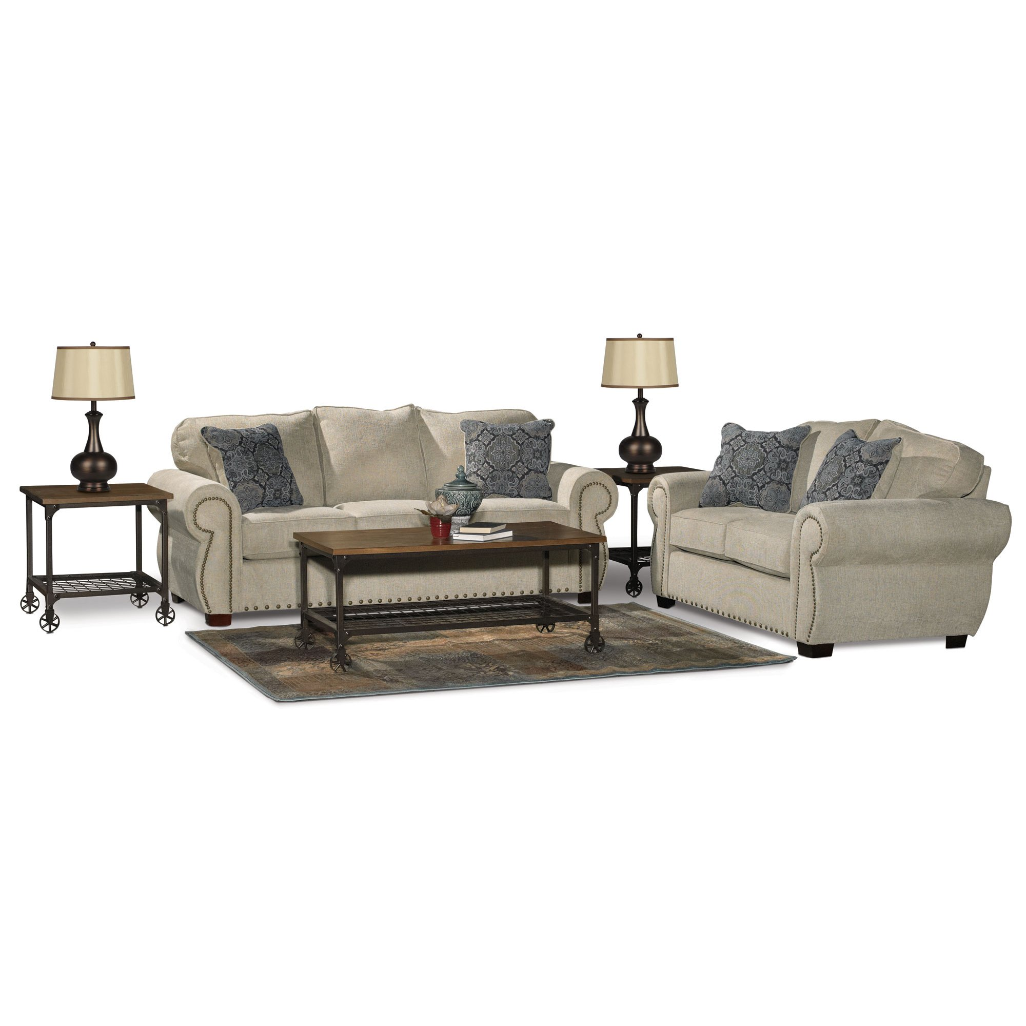 Traditional Canvas Tan Sofa Bed 7 Piece Living Room Set