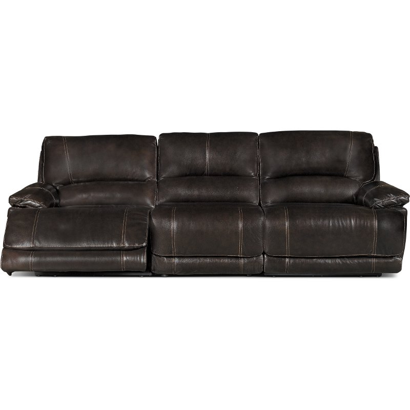 triple reclining sofa most durable material for sofas brown 3 piece power brant rc willey furniture store