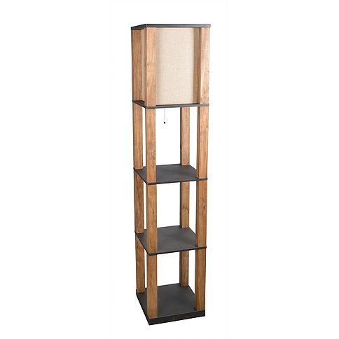 Natural Wooden Floor Lamp With Black Shelves  RC Willey