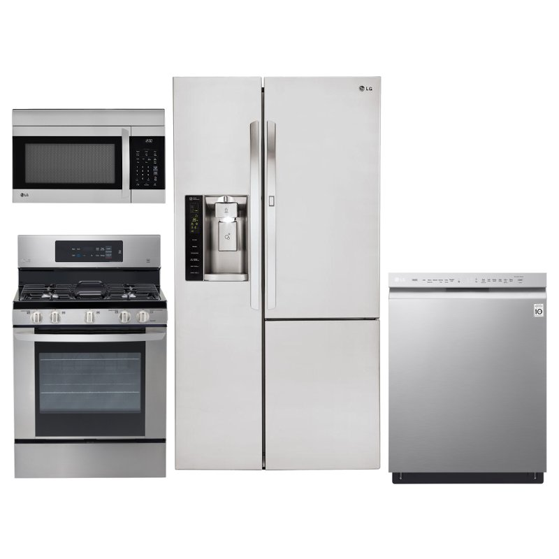 lg kitchen appliances sink drain parts 4 piece appliance package with gas range and door in refrigerator stainless steel rc willey furniture store