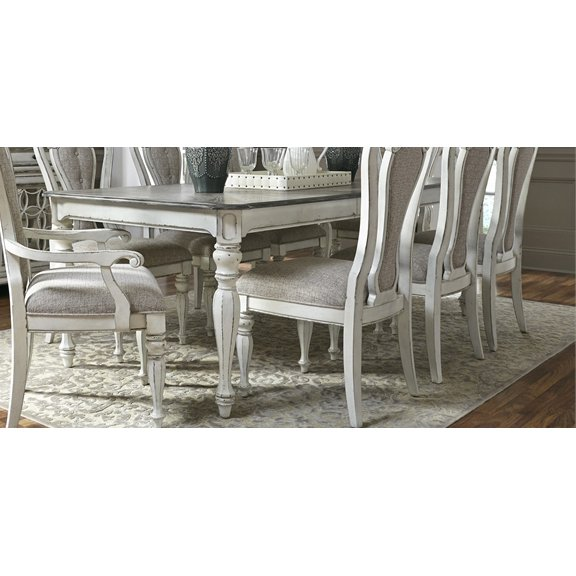 antique white dining chairs hammock swing chair for two 5 piece set with upholstered magnolia table manor