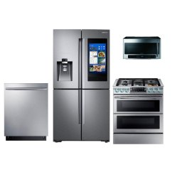 Samsung Kitchen Package Backsplashes 4 Piece Appliance With Gas Range Stainless Steel Rc Willey Furniture Store