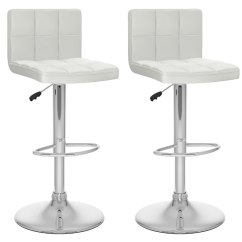 High Bar Stool Chairs Orthopedic Fishing Chair White Back Adjustable Set Of 2 Rc Willey Furniture Store