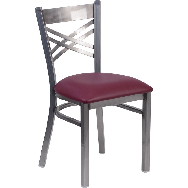 steel vinyl chair christmas covers singapore metal restaurant burgundy seat rc willey furniture store