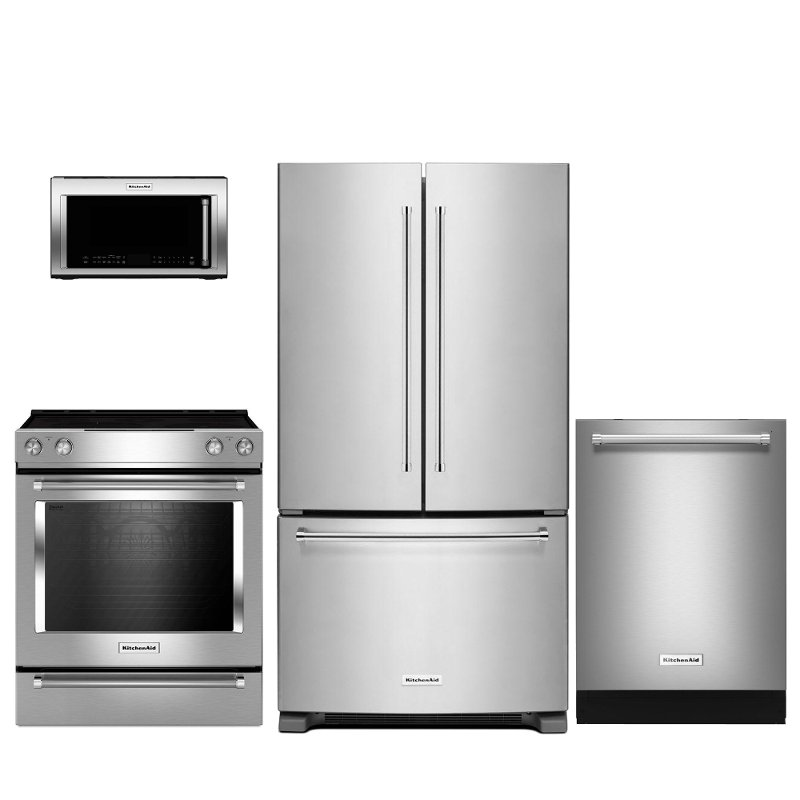 4 piece stainless steel kitchen package accessories store kitchenaid appliance with electric range rc willey furniture