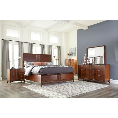 brown cherry mid-century modern 6 piece queen bedroom set - simply