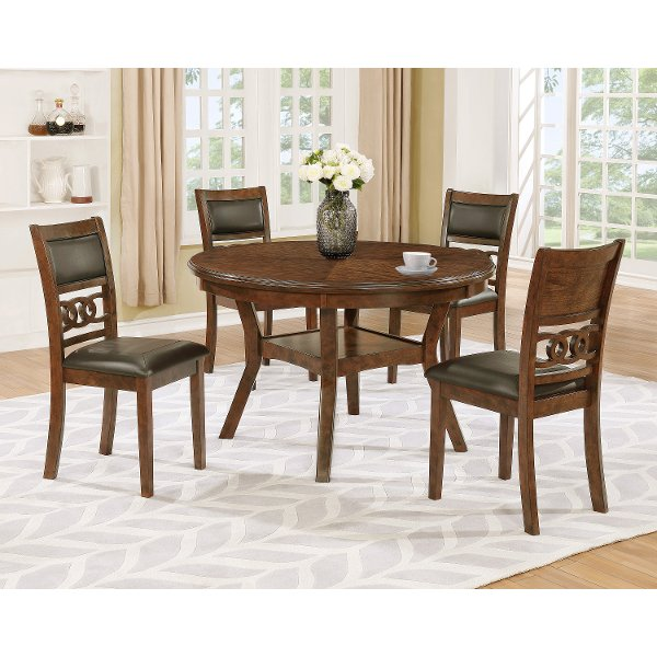 round dining chairs matthews posture chair table sets for sale at rc willey brown traditional 5 piece set cally
