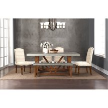 Faux Cement And Natural 5 Piece Dining Set - Bohemian Rc