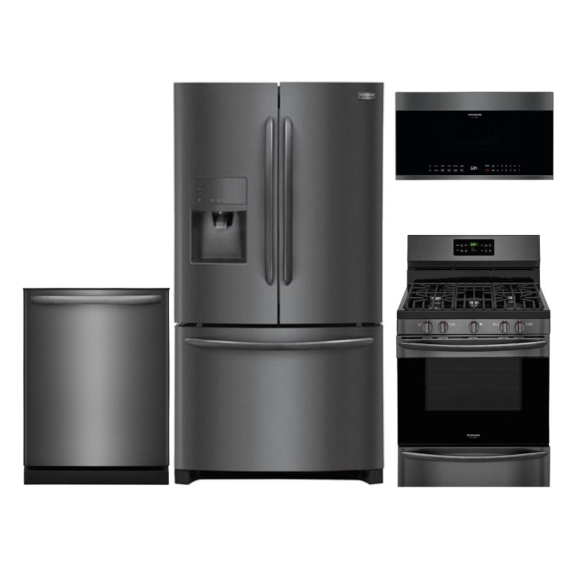 frigidaire kitchen package filter 4 piece appliance with gas range and built in dishwasher black stainless steel rc willey furniture store