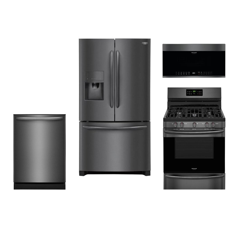 frigidaire kitchen package slim trash can for 4 piece appliance with french door refrigerator and gas range black stainless steel rc willey furniture store